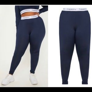 Plus Navy Elasticated Band Leggings